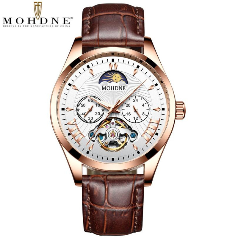 Automatic Self-Wind Mechanical Watches Moon Phase Mens Waterproof Watch Top Brand Luxury Rose gold Tourbillon Hollow Movement