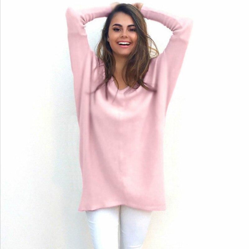 Розовый длинное пальто женские пикантные v-образным вырезом knitte свитер для женщин розовый длинный белый топ эластичный пуловеры Большие ра... ...