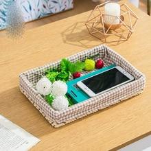 Straw storage basket imitation rattan desktop box remote control key high 5 cm