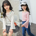 5 6 7 8 9 10 11 12 13 14 15 Years Teenagers Baby Girl T Shirt Pagoda Sleeve New School Uniforms For Girls Teens Children Clothes