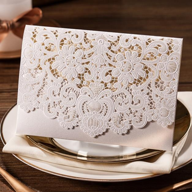 imprimible corte lser tarjeta de invitacin de boda blanco con flores en relieve cw juego