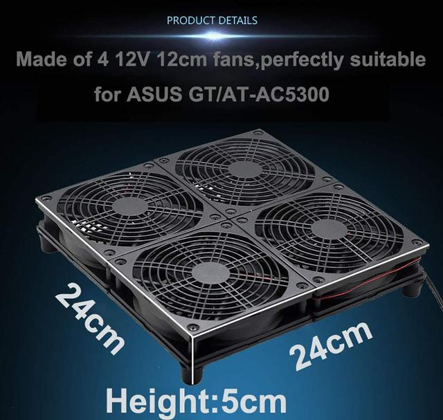 E&M Cooling Fan Mining Rig Speed Adjustable Heat Radiator USB Power Dissipate Temperature Control for Asus GT RT-AC5300 Router