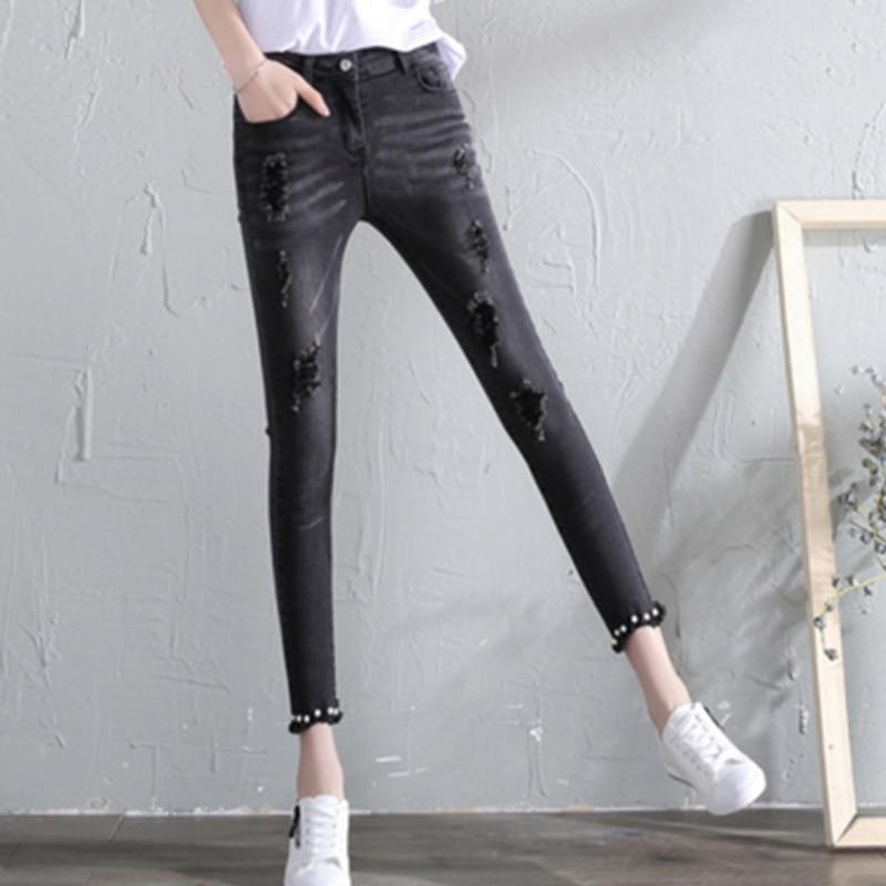 Ripped   jeans   women female holes   jeans   pencil pants 2019 new denim   jeans   8N29
