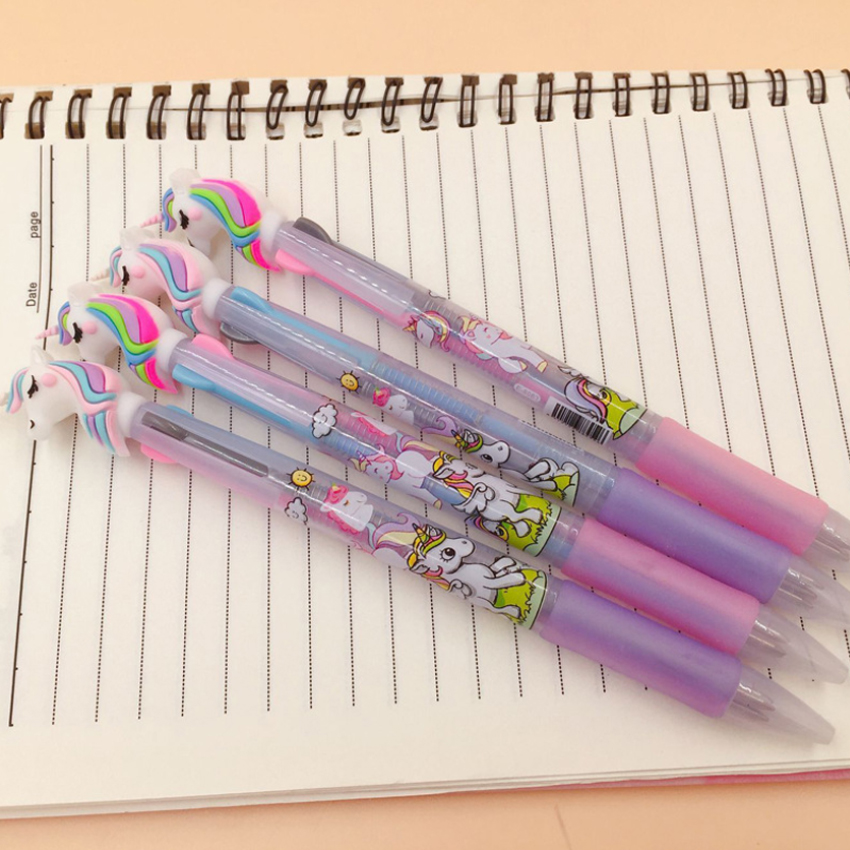 Image 3 - 30pcs/lot Lovely cartoon 3 In 1 Multi Color Writing ballpoint pen students black office signature pen Stationery for office-in Ballpoint Pens from Office & School Supplies