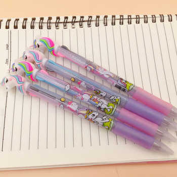 30pcs/lot Lovely cartoon 3 In 1 Multi Color Writing ballpoint pen students black office signature pen Stationery for office