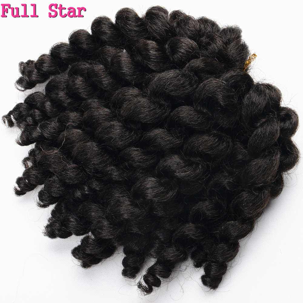 Wand Curls 1-9 Packs Crochet Braids Hair 8 Inch Full Star Jamaican Afro Fluffy Jumpy Wand 20strands Synthetic  For Black Women