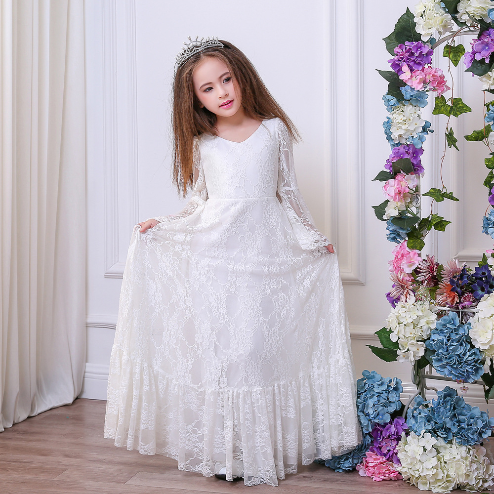 цена на Lace Vintage First Communion Dresses With Long Sleeve Flower Girls Dresses A-Line Tulle Mother Daughter Dresses For Girls Party