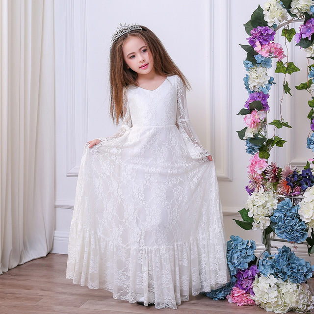 lace vintage first communion dresses with long sleeve flower girls