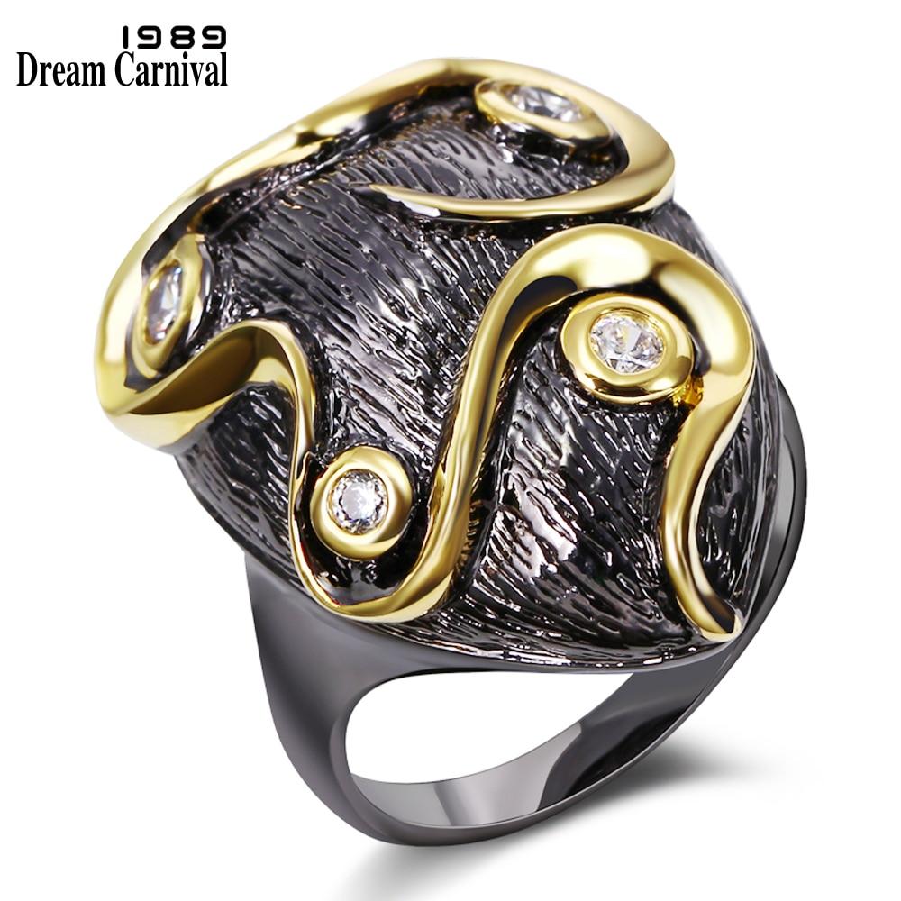 Dreamcarnival 1989 فريد بوهيميا نمط مجوهرات تريند نساء حزب زركونيا الأحجار موخيريس anillos الأسود لون الذهب الدائري BR12423