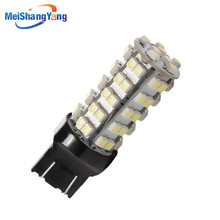 цена на 2pcs 7443 7440 Pure White 68 SMD 3528 LED Car Bulbs Auto w21/5w led car bulbs rear brake Lights Car Light Source parking 12V