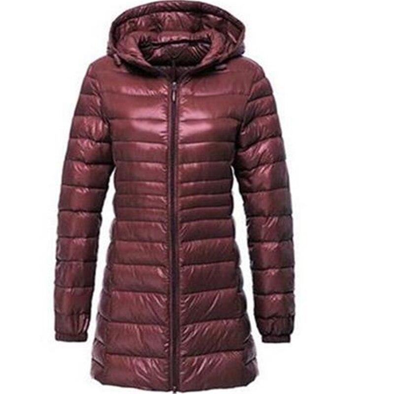 Baqcn Women Ultra Light Down Jacket Autumn Winter Warm White Duck Down   Parkas   Long Hooded Thin Lightweight Coat Plus Size S~6xl