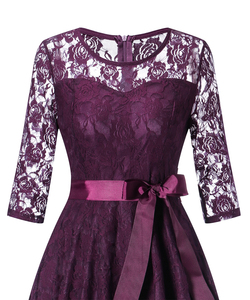 Image 4 - OML 516Z#Middle sleeve O Neck short purple lace Bow Bridesmaid Dresses wedding party dress prom gown womens fashion wholesale