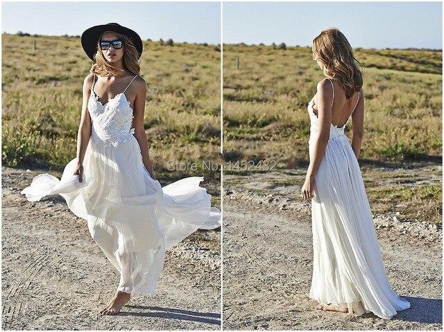 Vestido De Noiva 2016 Boho White Spaghetti Strap Beach Wedding Dresses Appliqued Backless Lace Bridal Gowns Cheap Custom Made