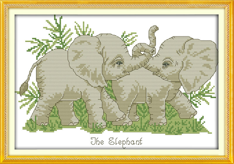 Package The Elephant Partner Printed On Canvas Dmc Counted Chinese Cross Stitch Kits Printed Cross-stitch Set Embroidery Needlework Discounts Price Arts,crafts & Sewing