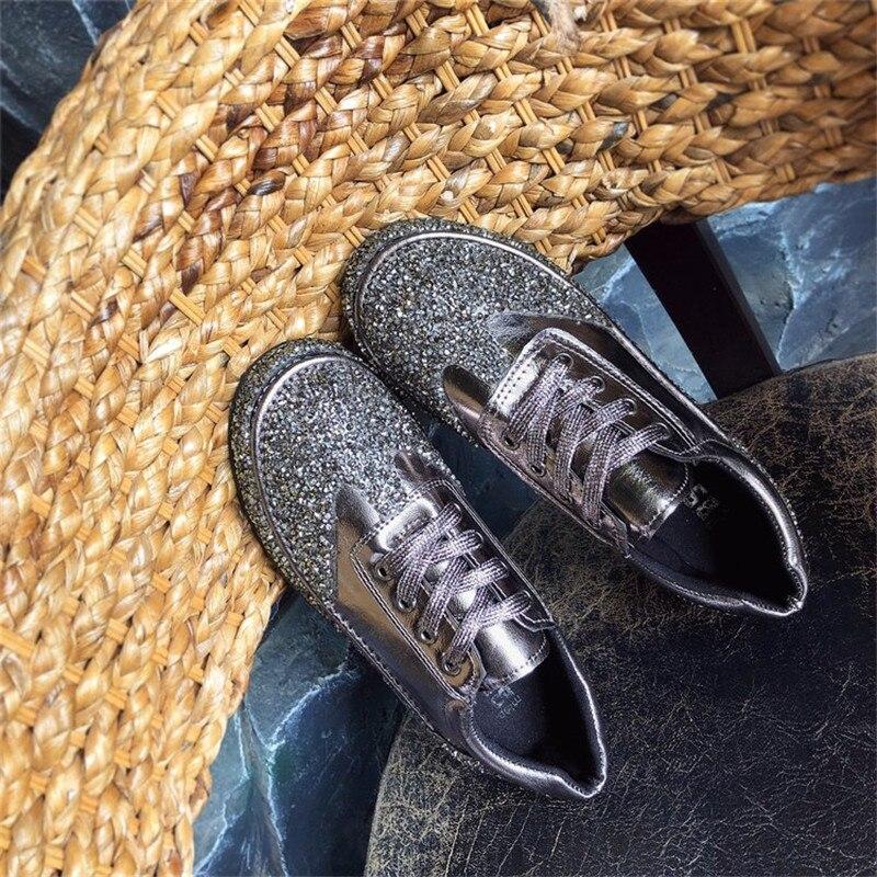 Épaisse Chaussures Mode Semelle 1 De Et Automne Plat 2 2018 Européenne 3 Section Étudiants Nouvelle Diamant Paillettes Printemps 4q6vSw18
