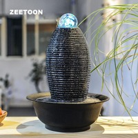 110V 220V Modern Style Waterfall Mini Water Features Fountain LED Crystal Ball Air Humidifier Feng Shui Lucky Tabletop Ornaments