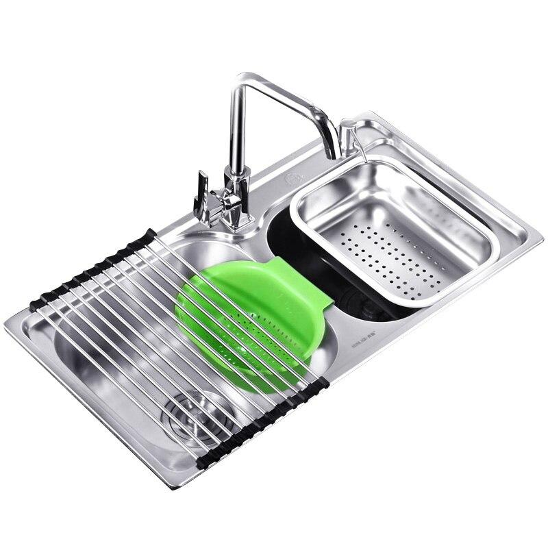 304 cuisine en acier inoxydable épaissi lavabo évier double fente intégré Lu 4283