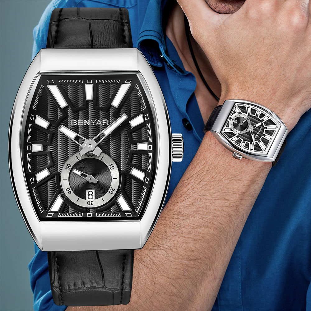 Benyar Square Watch Men Business Watch Waterproof Quartz Genuine Leather Wrist Watch Men Clock Male hodinky erkek kol saati