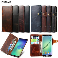 Luxury Genuine Leather Case For Samsung Galaxy Note 20 Ultra Note 10 S20 Plus 9 8 S10 Plus S8 S9 Flip Wallet Cover Phone Cases