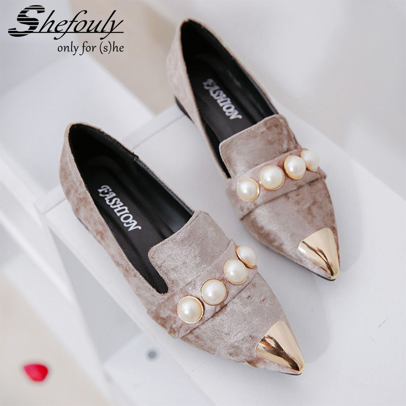 2017 New Spring Women's Flock String Bead &Metal Decoration Shoes ,Casual Elegant Pointed Toe Square Heel Solid Slip-On Pumps 2017 womens spring shoes casual flock pointed toe narrow band string bead ballet flats flat shoes cover heel women flats shoes