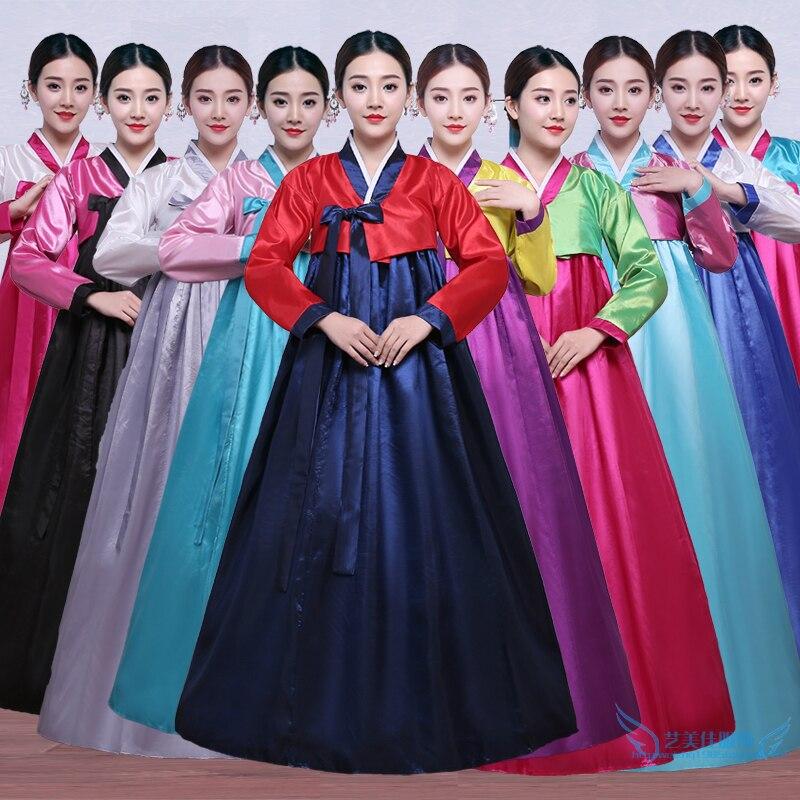 Hohe Qualität Multicolor Traditionellen Koreanische Hanbok Kleid Weiblichen Koreanischen Folk Bühnentanz-kostüm Korea Traditionelle Kostüm Party