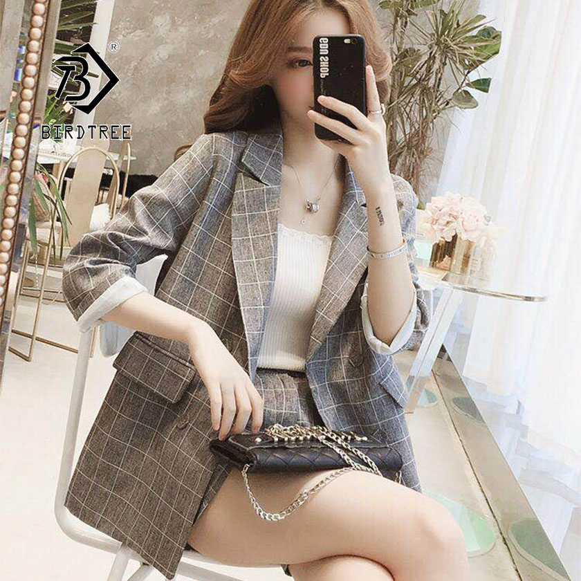 2019 Chic Summer New Women's Shirt Short Pant Suit Korean Female Fashion Style Plaid Pockets Button Design Hot Sale S96611D