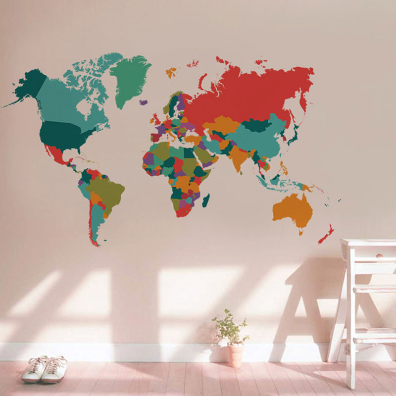 color world map wall sticker Living Room Bedroom home decor pvc wall sticker import large size self adhesive mural naklejki