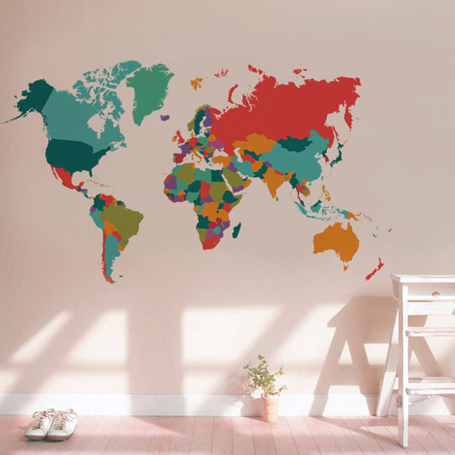 color world map wall sticker living room bedroom home decor pvc wall sticker import large size. Black Bedroom Furniture Sets. Home Design Ideas