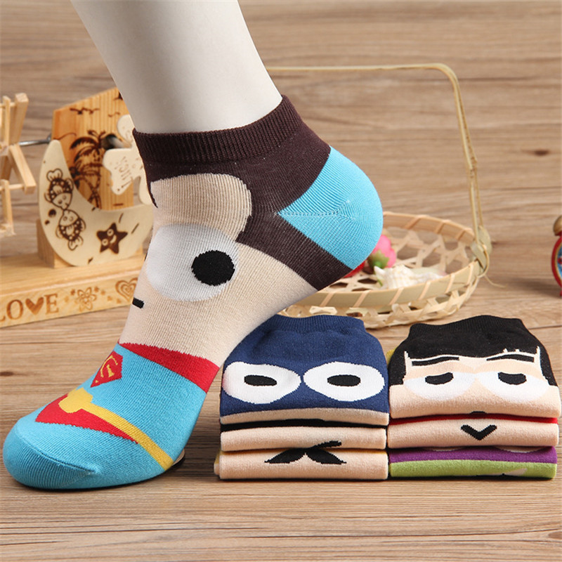 Fashion Summer Men Socks Cotton Bat/Harajuku Socks America Avengers Short Sock Colorful Breathable Cartoon Socks Christmas Gifts