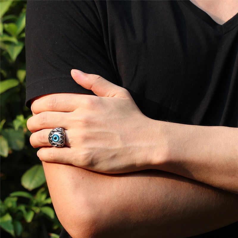 U7 Motociclista Anel de Aço Inoxidável da Cor do Ouro Azul Amuleto Turco Olho Illuminati Presente da Jóia Dos Homens Do Punk Rock Anéis Trendy R348