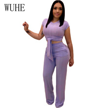 WUHE 2 Piece Set Jumpsuits Women Knitted Tracksuit High Stretchy Ribbed Front Tie Short Sleeve Crop Top + Wide Leg Pants Outfit