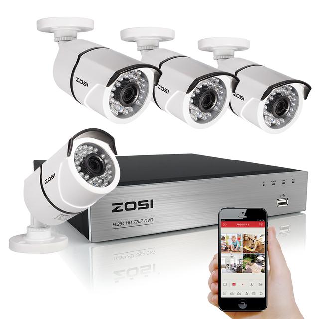 Zosi cctv 4ch sistema de câmera de segurança do sistema 4x1080 p câmera 2.0mp camera kit sistema de vigilância cctv camaras seguridad casa