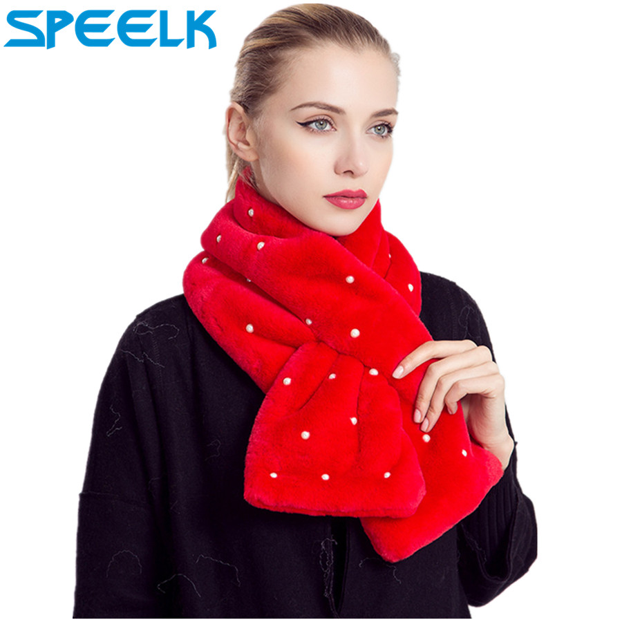 New Brand Pearl   Scarf   Women Imitation Rabbit Hair   Scarves   Shawls and   Wraps   Solid Color Thick Warm Fur Collar Bib Dropshipping