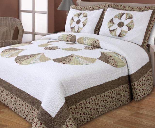 Algodón bordado clásico roma patrón cubierta de cama acolchado de ...