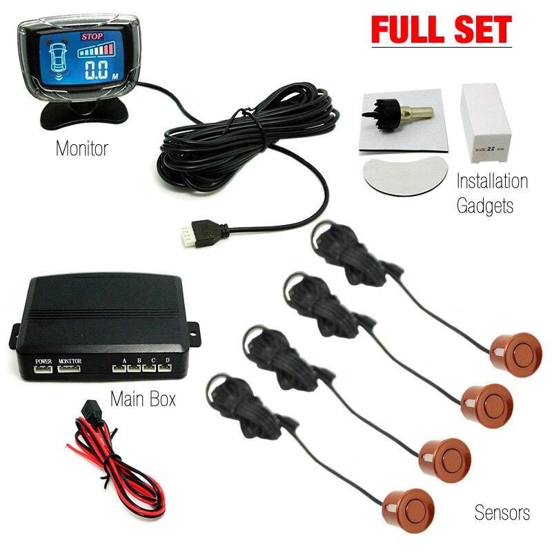 Car Parking Reversing Radar Buzzer Alarm Alert LED Display Black 8 Sensor System