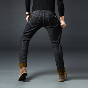Image 5 - Jantour חורף חם צמר גברים של ג ינס עבה למתוח ינס ז אן ישר זכר מותג כותנה מכנסיים גברים גדול גודל 35 40 42 44 46