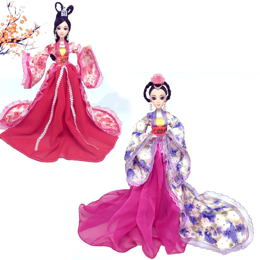 NK One Set Sinicism Kimono Doll Dress Fairy Princess Moroccan Clothes Royal Court Beautiful Long Trailing Dress For Barbie Doll