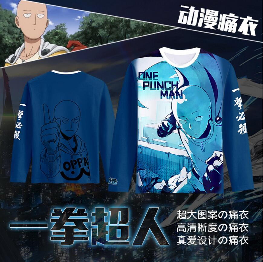 3Colors ONE PUNCH MAN Saitama King Printed Long Sleeve T-shirt Cosplay Costume Daily Casual Tee Shirt