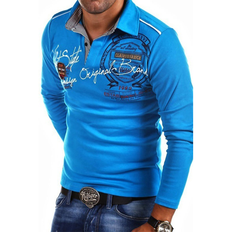 ZOGAA Men Full Sleeve Personality Cultivating Long Sleeve Shirt   POLO   Mens Fashion Casual Letter   Polo   Shirts Plus Size   Polos   Tops