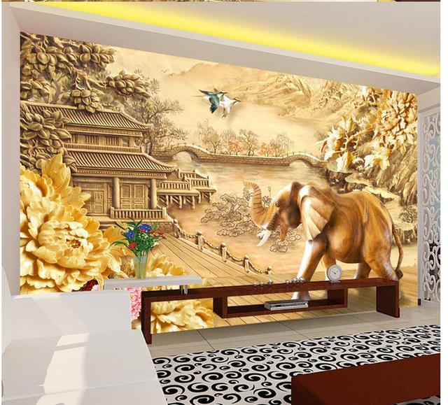 3d wallpaper for room Wood carving elephant background wall ...