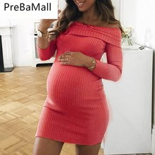 Handcraft Elastics Maternity Dress Autumn Winter Dress Clothes for Pregnant Women Shoulderless Sexy Pregnacy Clothing C0065 plus size pink maternity dresses autumn winter thicken maternity clothes dress for pregnant women cute women party clothing