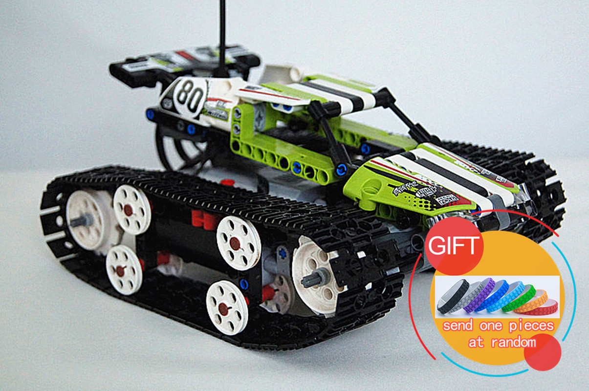 20033 397pcs Tech Series The RC Track Remote-control Race Car Set Building Blocks Bricks Educational Gifts Toys 42065 lepin glow race track bend flex glow in the dark assembly toy 112 160 256 300pcs slot race track 1pc led car puzzle educational toys