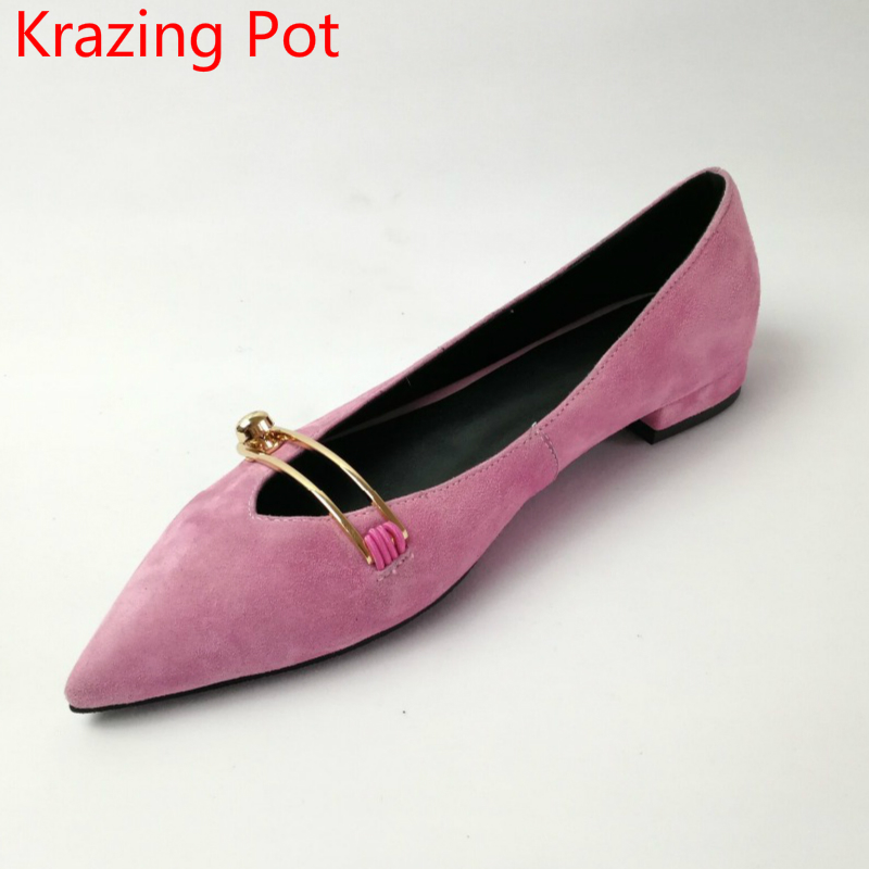 2017 Fashion Brand Shoes Genuine Leather Slip on Pointed Toe Shallow Metal Fasteners Low Heels Concise Party Women Pumps L85 krazing pot new fashion brand shoes genuine leather slip on pointed toe preppy style metal fasteners low heels women pumps l85