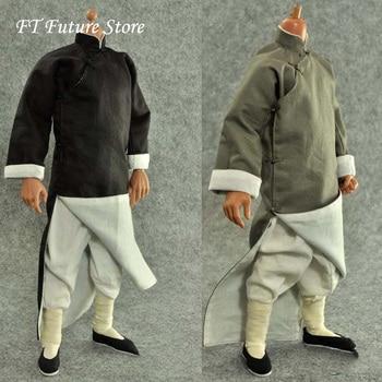 цена на Gray/Black Colors 1/6 Male Figure Clothes Accessory Kung Fu Suit Long Costume Clothing Set Shoes Model For 12 Action Figure