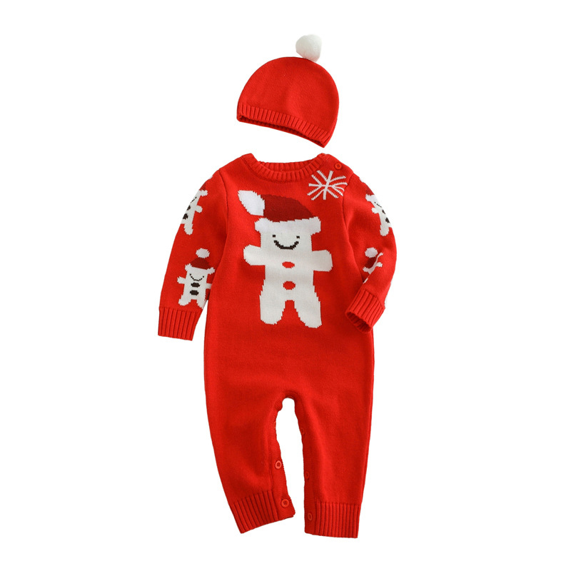 2PCS New Toddler Rompers Cute Hat Jumpsuit Suit Boys Girls Cotton Clothes Infant Coveralls Winter 2016 Christmas Baby Romper Set new baby rompers long sleeve coveralls cute v neck baby clothes solid cotton infant romper spring autumn boys girls jumpsuits