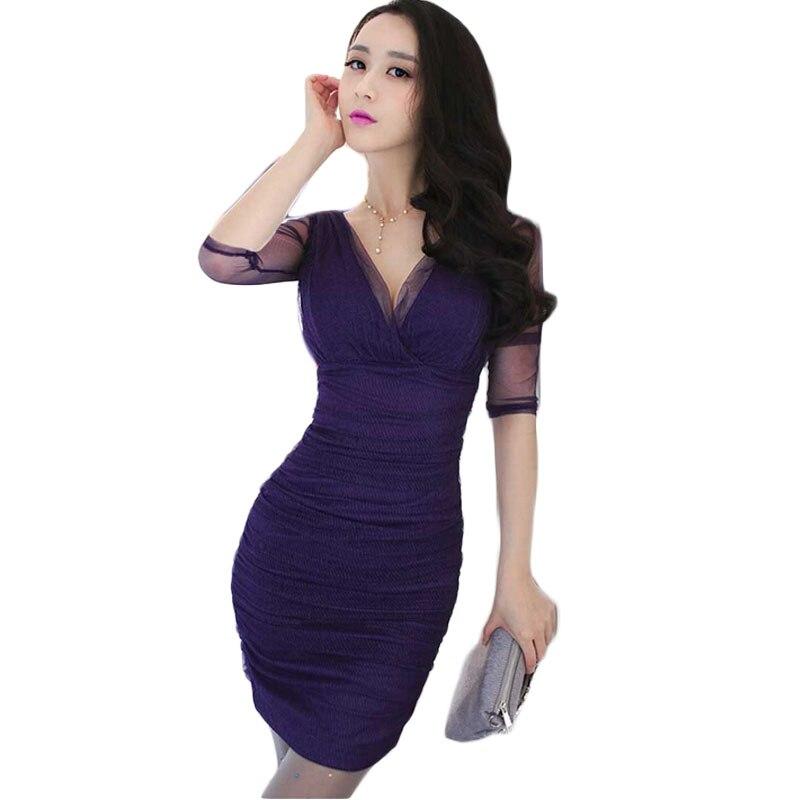 Осень Fadhion оболочка Кружево платье длинный рукав V-Средства ухода за кожей Шеи до колена Длина фиолетовый Гренадин платье Новый styleee777