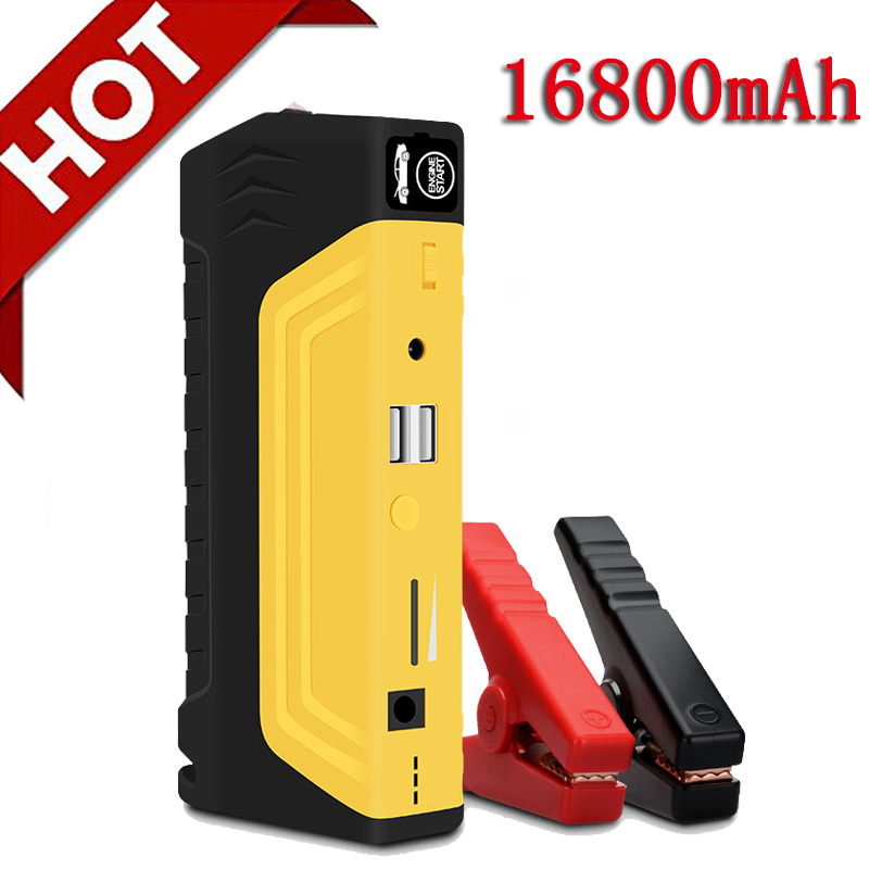 16800mAh 12V Car Battery Power Bank Car Jump Starter Portable 800A Peak Jump Start With Ordinary Cable And Four in One USB Cable