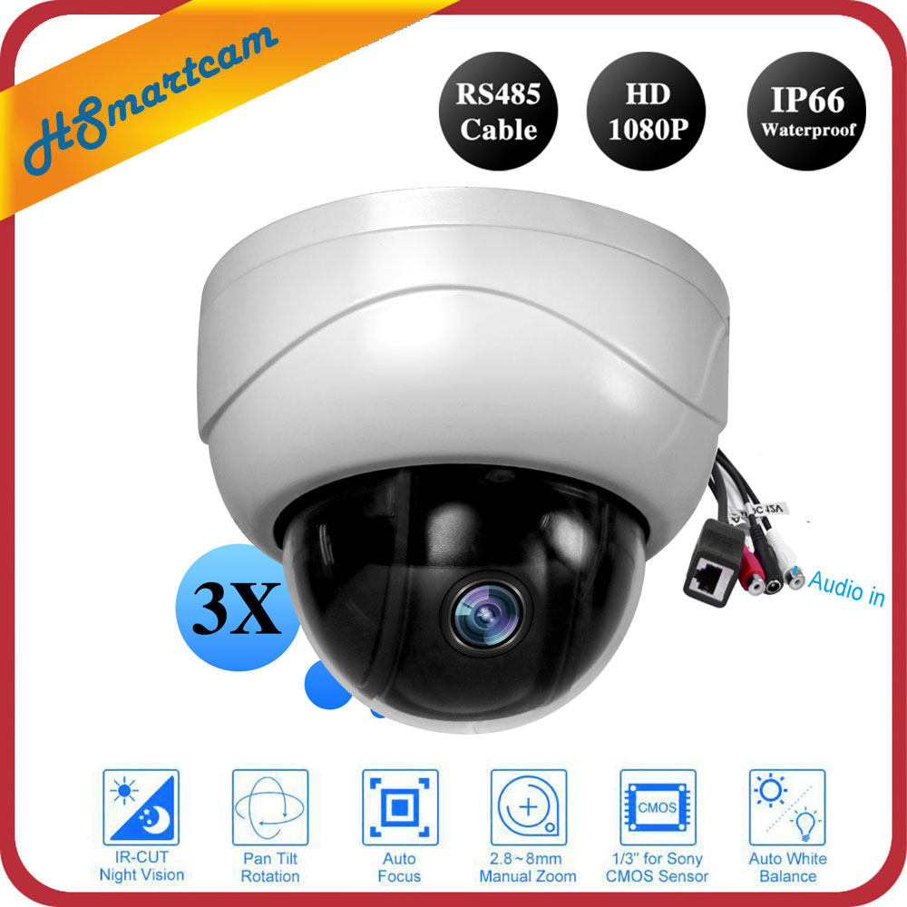 Mini P2P Onvif PTZ IP Camera 3X Zoom Full HD 1080P Indoor Dome Surveillance IR Night Vision Audio Camera For HD NVR CCTV System ptz ip camera 1080p onvif h 264 3x zoom full hd p2p indoor plastic dome 15m ir night vision 2mp p2p surveillance camera