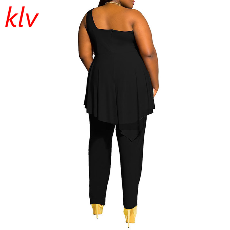 0212fb4c56a Fashion Sexy Autumn Spring Womens Casual Loose One Shoulder Black Plus Size  Jumpsuit Playsuit Evening Pants M 3XL-in Jumpsuits from Women s Clothing ...
