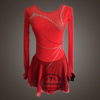 red figure skating dresses for girls hot sale custom ice skating clothing women competition skating dresses free shipping
